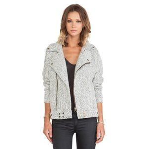 J.O.A by Revolve Biker Wool Jacket in Herringbone